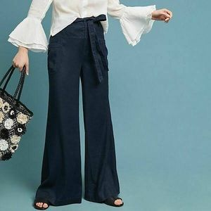 Anthropologie Tie Waist Linen Wide Leg Pant, Sz 30